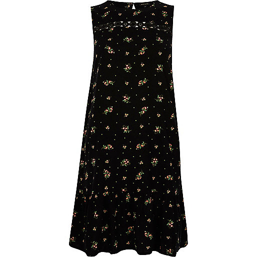 Black ditsy drop hem sleeveless swing dress