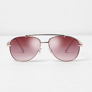 Rose gold tone aviator pink lens sunglasses