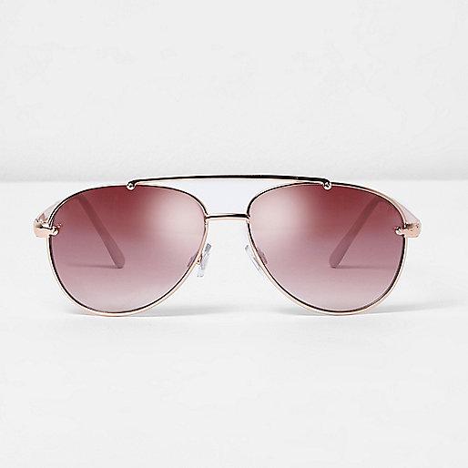 Rose gold tone aviator pink lens sunglasses