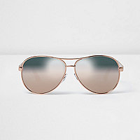 Rose gold tone aviator mirror lens sunglasses