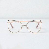 Gold tone clear lens cat eye glasses