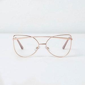 Goudkleurige glamourbril met heldere glazen