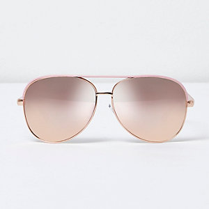 Lunettes de soleil aviateur roses effet miroir