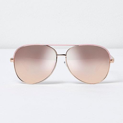 Pink aviator mirror sunglasses