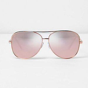 Rose gold tone aviator pink mirror sunglasses