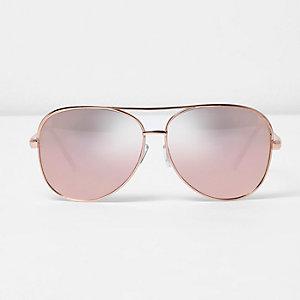 Lunettes de soleil aviateur or rose à verres effet miroir roses
