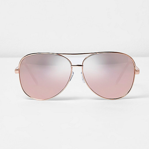 Rose gold tone aviator pink mirror sunglasses