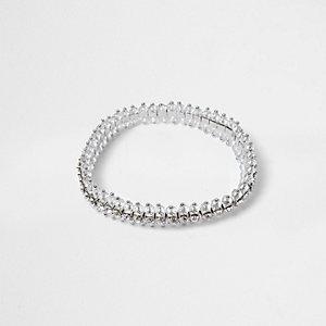 Silver tone diamante encrusted bracelet