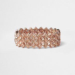 Bracelet or rose à strass