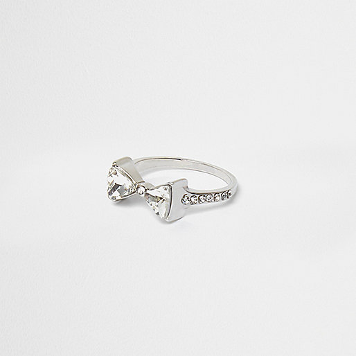Silver tone diamante bow ring