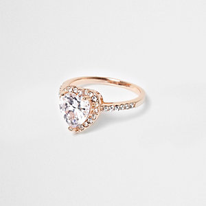 Rose gold tone rhinestone heart ring