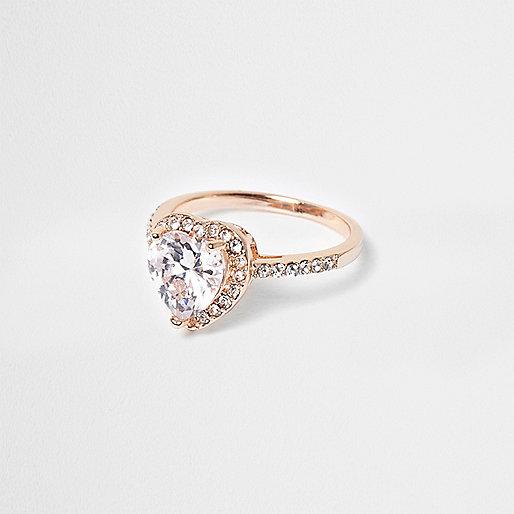 Rose gold tone rhinestone heart ring