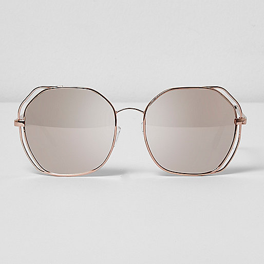 Rose gold tone cut out oversized sunglasses