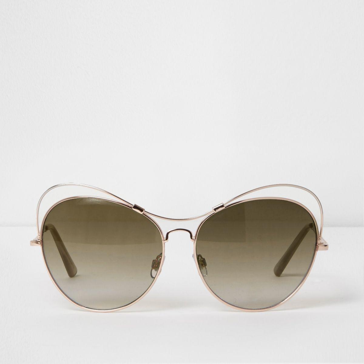 Gold tone cut out glam sunglasses