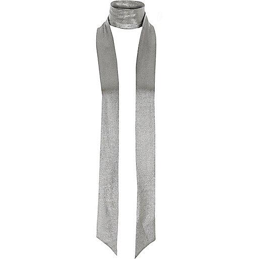Silver metallic skinny scarf