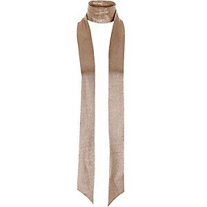 Bronze metallic skinny scarf