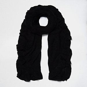 Écharpe en maille noire à volants