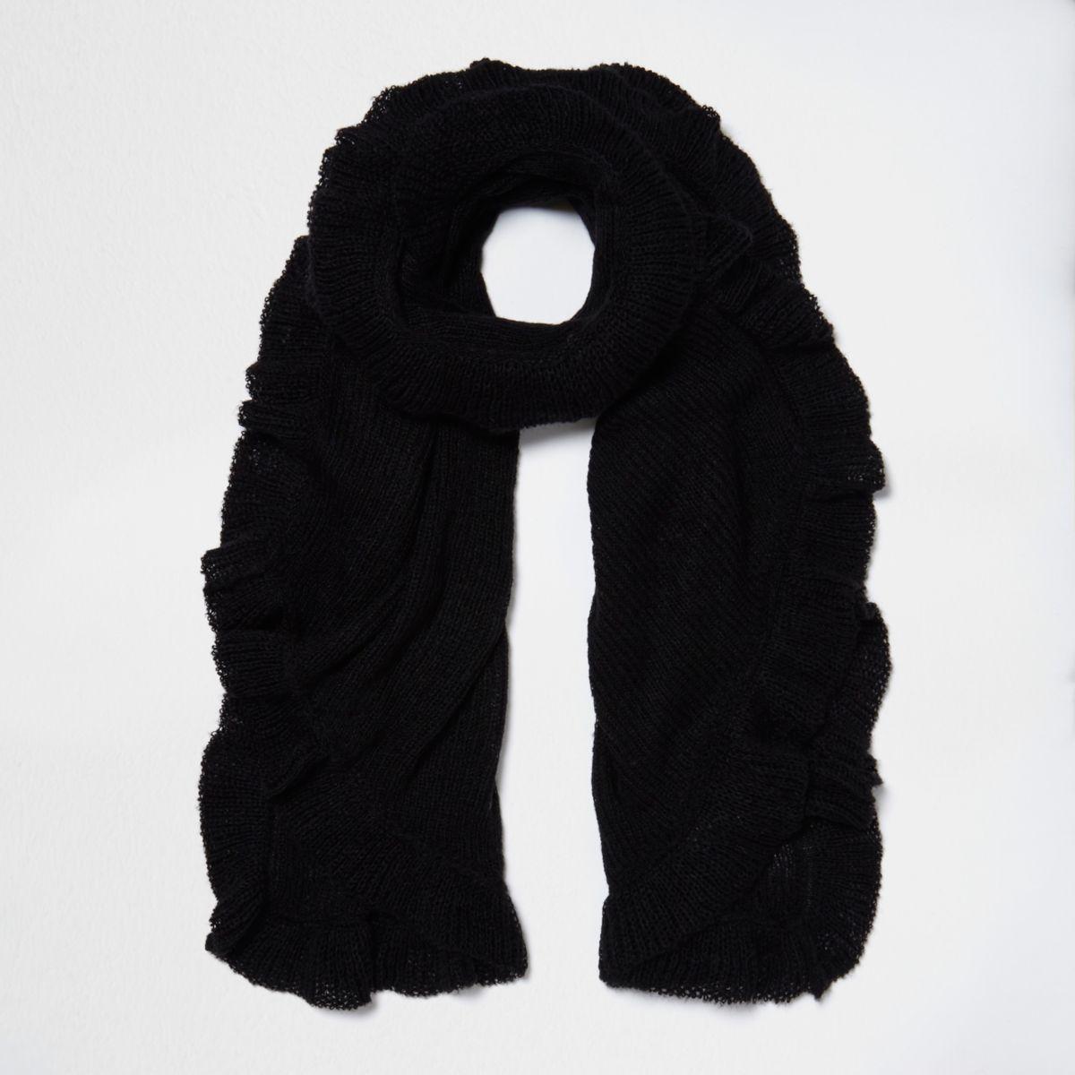 Black frill hem knit scarf