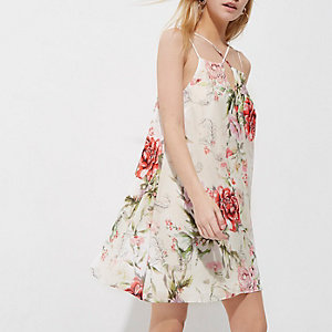 Petite white floral print slip dress
