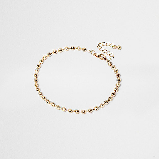 Gold tone bead chain anklet