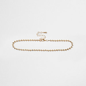 Gold tone bead chain choker