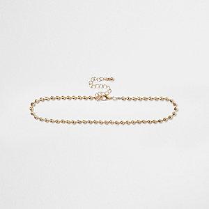 Ras-de-cou doré perles et chaîne