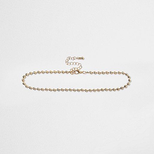 Gold tone bead chain choker