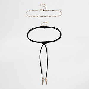 Black diamante spike bolo choker set