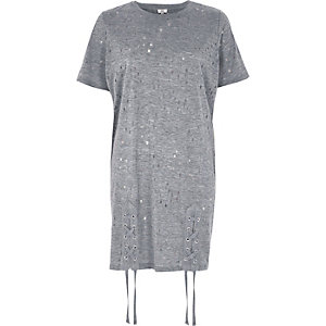 Grey eyelet lace-up hem oversized T-shirt