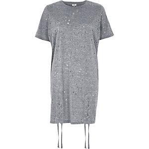 Grey eyelet lace-up hem oversized T-shirt