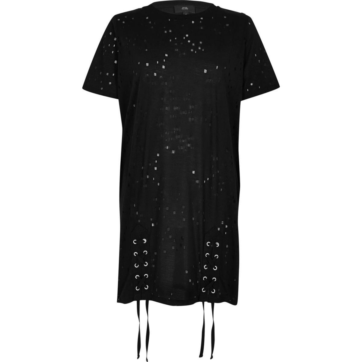 Zwart distressed oversized T-shirt met vetersluiting