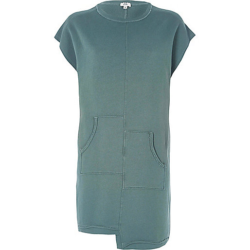 Light green split pocket sweat dress