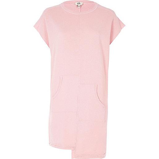 Light pink split pocket sweat dress