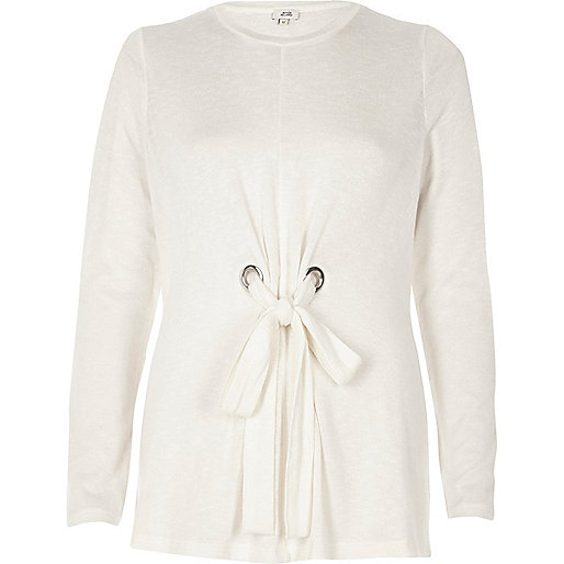 White tie front long sleeve top