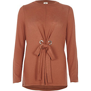 Brown tie front long sleeve top