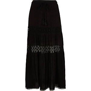 Black tiered lace maxi skirt