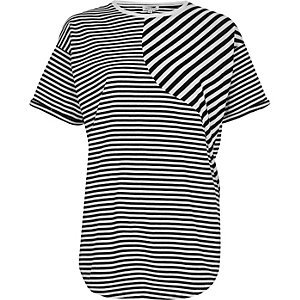 Black mixed stripe print boyfriend T-shirt