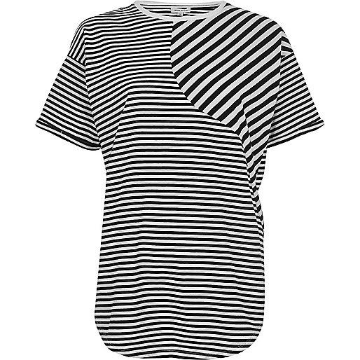 Black mixed stripe print boyfriend T-shirt