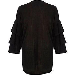 Black knit frill sleeve cardigan