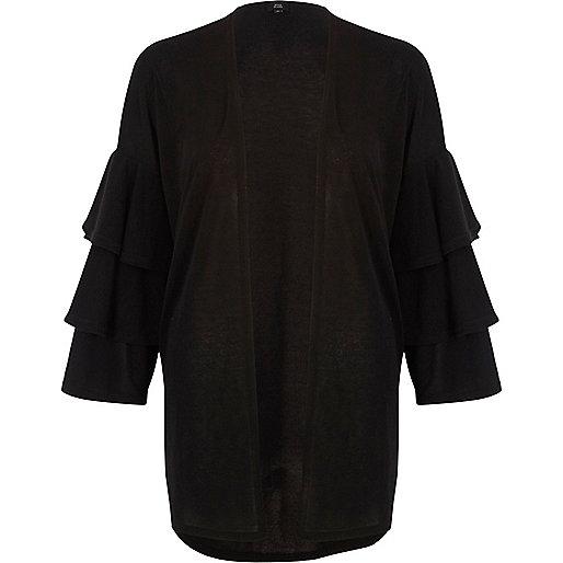 Black knit frill sleeve cardigan