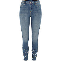 Molly – Mittelblaue, verzierte Jeggings in Authentic Blue
