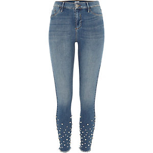 Molly – Jegging bleu authentique moyen orné