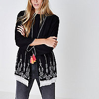 Black embroidered lace hem tassel kimono