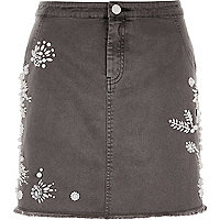 Grey embellished mini skirt