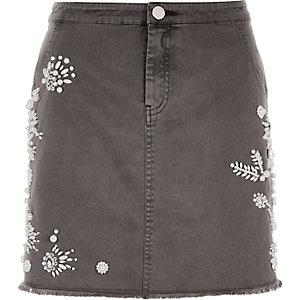Grey embellished mini skirt