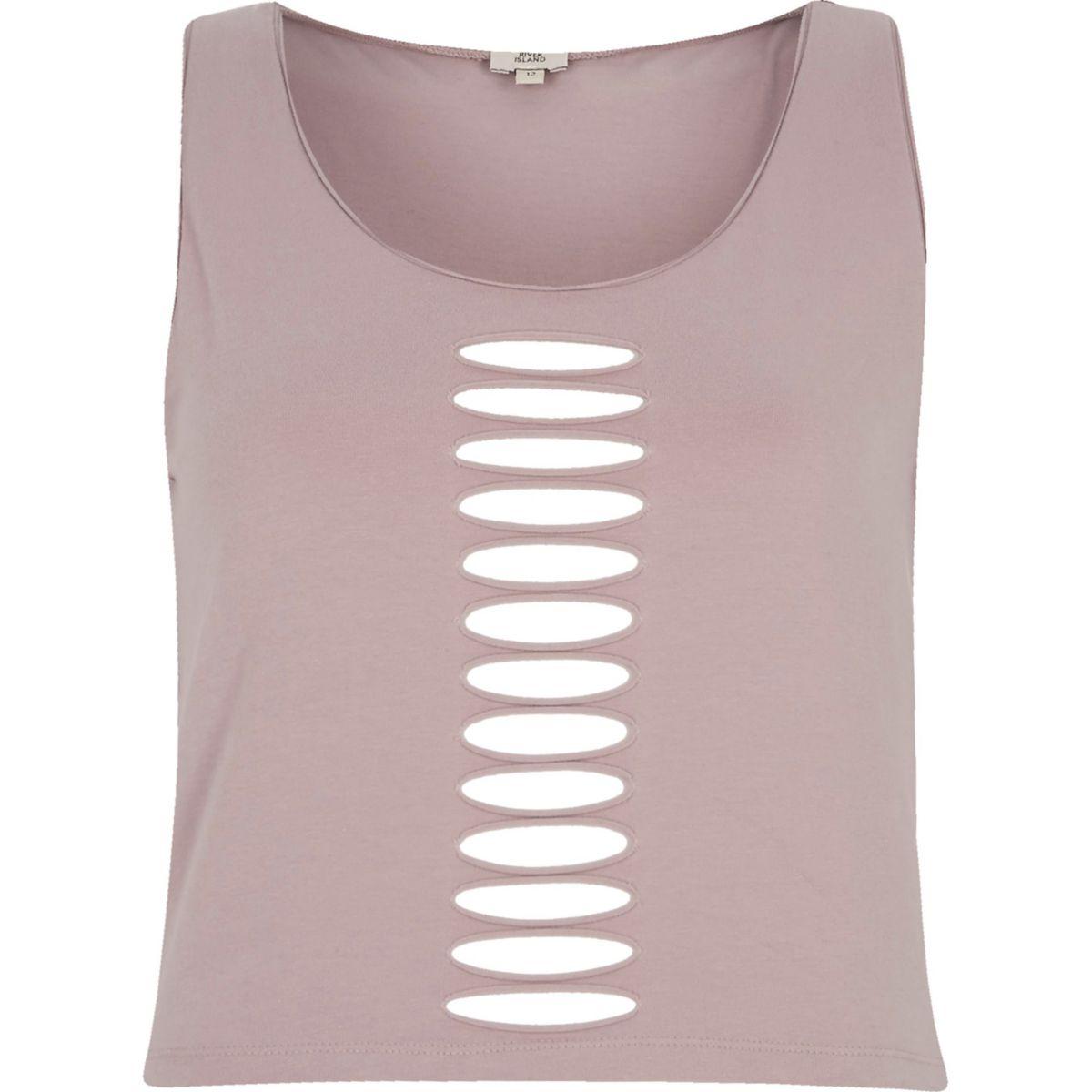 Pink slash front sleeveless crop top