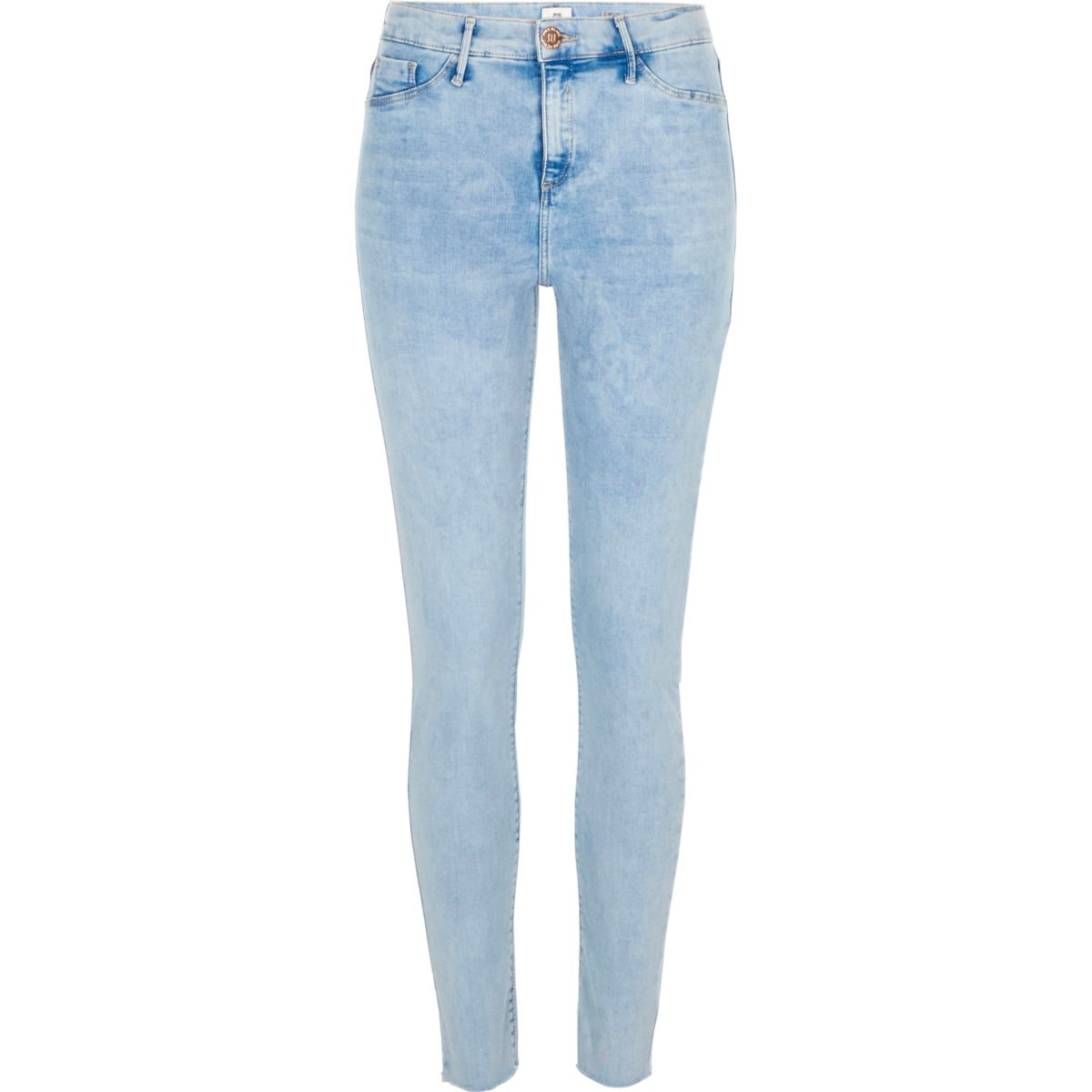 Blue Molly raw hem skinny jeggings