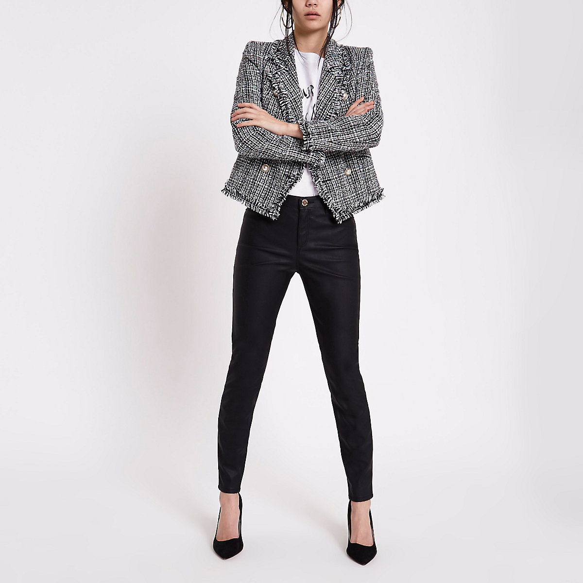 Black faux leather Molly skinny fit trousers