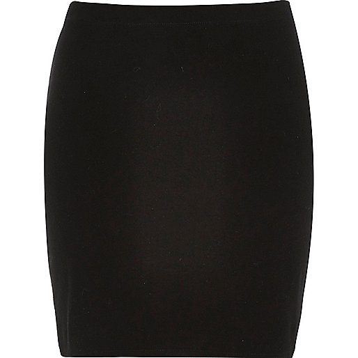 Black jersey mini skirt