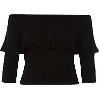 Black deep frill fitted bardot crop top
